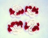 Appliques hand crochet flowers set of 4 candy cane 2inch