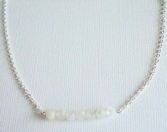 Beaded Bar Necklace, Moonstone Gems, Bridal Jewelry, Bead Bar, Everyday, Layering