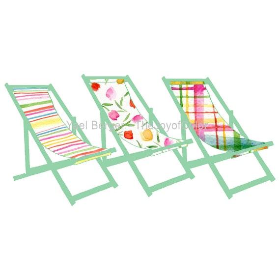 Art print The Deck Trio, colorful deck chairs print, limited edition, deck chairs art , coastal print, beach cottage art, nautical coast