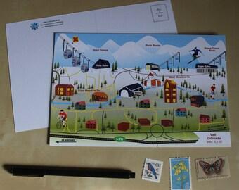 Vail, Colorado Illustrated Map Postcard
