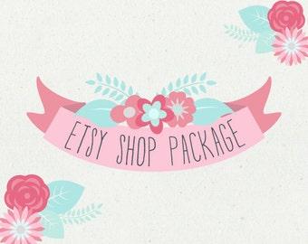 Etsy Shop Banner - Etsy Banner - Premade Etsy Shop Set - Etsy Design Package - Logo Business - Spring Flowers Banner Design - Pinks and Aqua