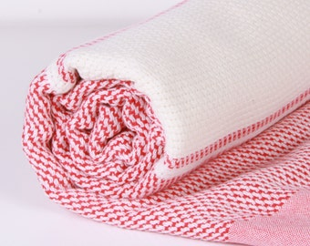 Turkish Bath Towel... NEW Peshtemal natural Red