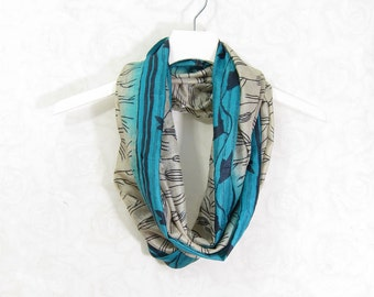 Turquoise Silk Scarf Sari Silk Infinity Scarf Gift for Her Spring Scarf Summer Scarf Lightweight Scarf Upcycled Scarf Eco Fashion Recycled