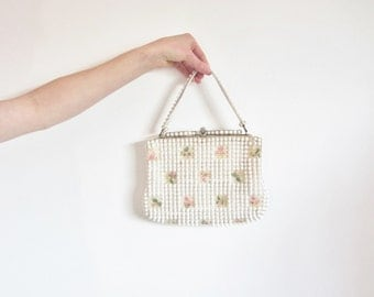 mod bubble beaded bridal purse . prettiest floral hand bag .sale