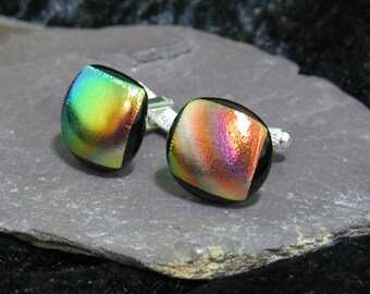 Orange Green Gold Cufflinks - Dichroic Glass Blue Cufflinks - Dichroic Fused Glass Jewelry - Fused Glass - Contemporary Glass Cufflinks