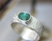 Genuine Emerald Sterling Silver Ring, Argentium Sterling Silver, Stacking RIng, Gemstone Ring, Statement Ring - Made To Order