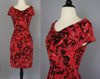 SALE vintage 90s Red Tropical Floral Rayon Wiggle Dress with Shawl Collar / Small