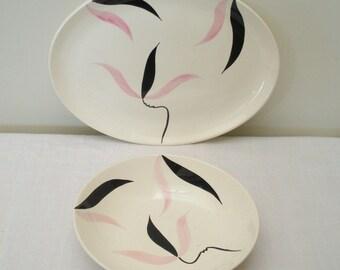 Vintage Pink & Black STT30 Stetson Platter and Bowl