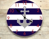 anchor clock, nautical nursery, wooden clock, nautical clock, anchor nursery, children's clock, clock for kids navy and white, cottage decor