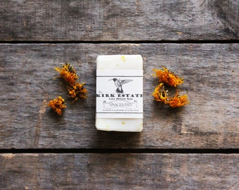 Unscented with calendula petals, Hummingbird, small bar, sensitive skin, natural, cold process, face soap, dry skin, artisanal soap