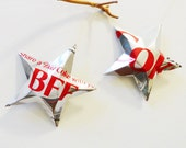BFF Diet Coke or Coke Stars Christmas Ornaments  Soda Can Upcycled Coca Cola