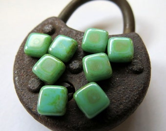 NEW Taos Turquoise Tiles . Czech PICASSO Pressed Glass Beads . 6 mm  (25 beads)
