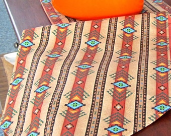 """Southwestern Table Runner 72""""- 90"""" Reversible Brown and Turquoise Long Southwest Table Runner Aztec Table Runner Sedona Table Runner"""
