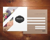 Minimal III Double sided gift certificate design - Instant download