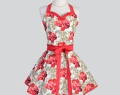 Sweetheart Retro Apron - Retro Sexy Womens Apron Coral Red and Taupe Floral Cute Full Kitchen Apron