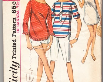Vintage 1965 Simplicity 6019 Sewing Pattern Misses' Top and Pants in Two Lengths Size 10 Bust 31