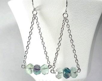 Long Chain Earring, Sterling Silver Aqua Teal Earring, Fluorite Earrings