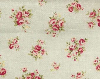 Durham Cotton Fabric by  Lecien 31072-10  Small Roses on Ivory