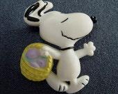 Snoopy Carrying Easter Basket Pin Vintage Brooch