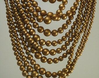 Vintage 10 Strand Gold Bead Necklace Torsade