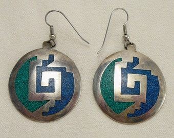 Vintage Mexican Crushed Turquoise Stone Alpaca Earrings