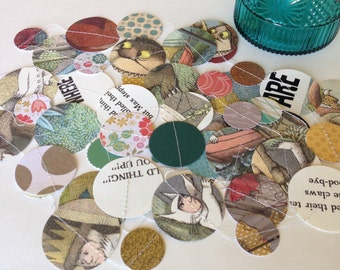 FREE US Shipping, Paper Circles Repurposed Book Page Garland, Where the Wild Things Are, Frog and Toad, Pooh, Fancy Nancy, Custom, Etc.