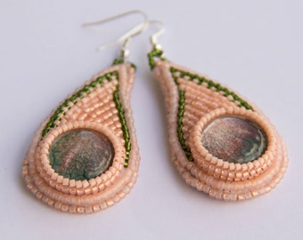 Bead Embroidered Pink Earrings with Glass Cabochons