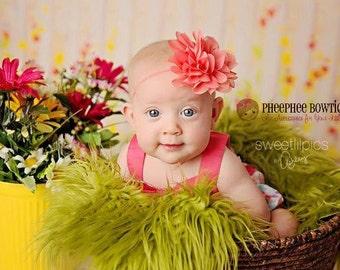Coral Flower Headband, Emma Petal, Newborn Headband, Baby Headband, Infant Headband, Photo Prop, Flower Girls, Weddings, School Bows