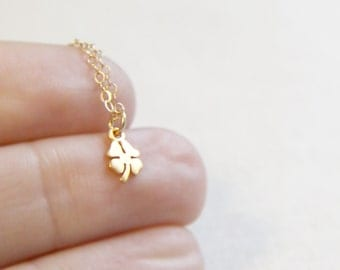 Four Leaf Clover Necklace | Tiny Lucky Charm Necklace in Gold or Silver