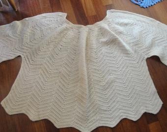 VIntage Cream Crochet Cape Shawl
