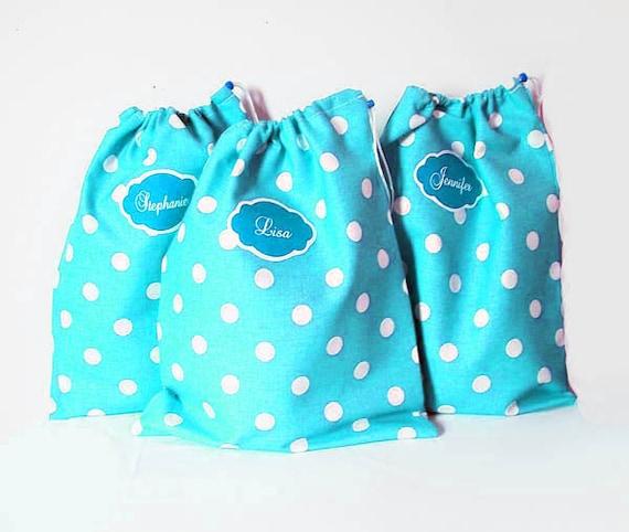 3 Travel Shoe Bags - Shoe Protectors - Drawstring Bag - Hostess Gifts - Teacher Gift - Bridal Party Gift - Lingerie Bag - Aqua Polka Dot