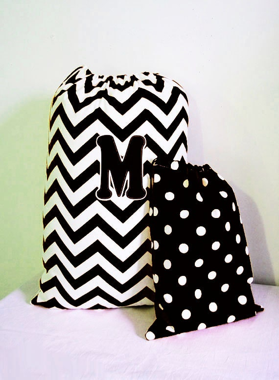 Black & White Chevron - Laundry Bag - Large Laundry Tote Bag, Backpack Style Laundry Bag, Drawstring Laundry Bags, Graduation Gift, Guy Gift