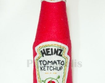 Ketchup bottle textile sculpture