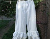Womens Bohemian Pantaloons XSm - XLg Double Ruffle Cotton Bloomers Custom Made