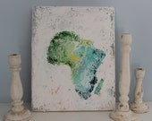 Abstract Africa -Original Art Painting 16x20 Africa Home Decor Canvas Free Shipping The Patriotic Peacock Fine Art