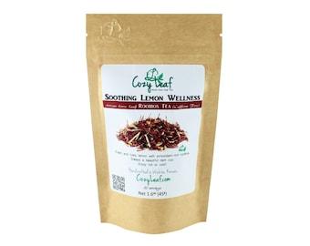 Soothing Lemon Wellness Artisan Organic Loose Leaf Tea by Cozy Leaf