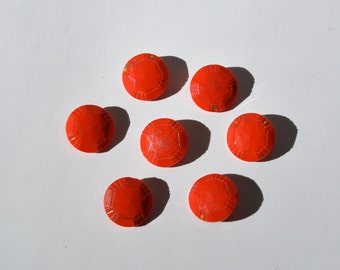 Vintage 1930s red glass buttons, shank style, 7 buttons faceted with etching