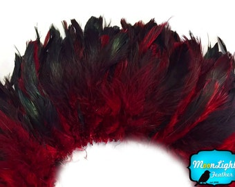 Rooster Feathers, 4 Inch Strip - RED Half Bronze Schlappen Rooster Feathers : 711
