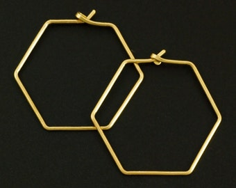 1 Pair Handmade Hexagon Ear Wires - 18 gauge with Hammered Latch in YOUR PICK of Metal - 100% Guarantee