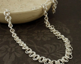 Argentium Sterling Silver Necklace - Goes With Everything Chainmaille - Ready Made or Kit