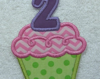 Birthday Cupcake Number 2 Fabric Embroidered Iron On Applique Patch Ready to Ship