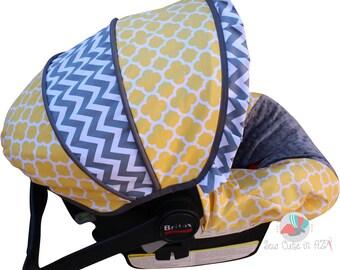 Car Seat Cover Yellow Quatrefoil with Chevron