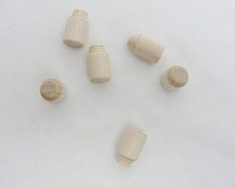 Micro mini jar, tiny wooden jar, set of 6