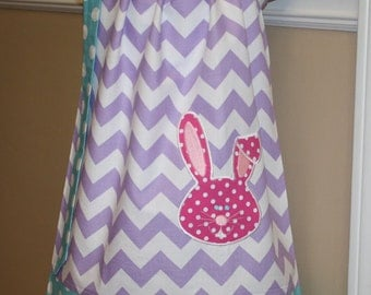 bunny pillowcase dress Easter spring purple, pink, blue girls Easter dresses 3 mos.  Thru  4T