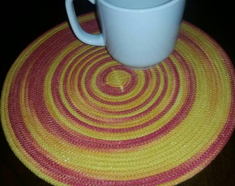 Coiled Rope Mat - Hot Pad - Summer Trivet - Hand Dyed Red, Orange, Yellow Sunset - Handmade by ArtisticFun