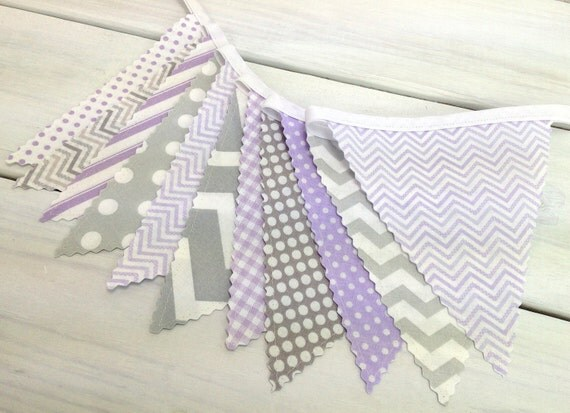 Bunting, Banner, Fabric Flags, Baby Nursery Decor, Photography Prop, Garland, Pennant - Lavender, Gray, Grey, Chevron, Purple, Dots, Gingham