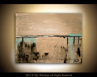 Original Modern Abstract Art Textured Palette Knife Taupe Contemporary Minimalist Landscape Painting by Sky Whitman
