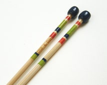Size 6 Knitting Needles Hand Painted, 4mm Knitting Needles, Single Pointed Knitting Needles, Made of Bamboo