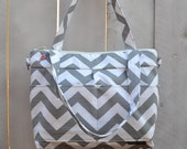 Pro size, Camera bag in Grey Chevron Bowler style / cross body Waterproof base, by Darby Mack Made in America
