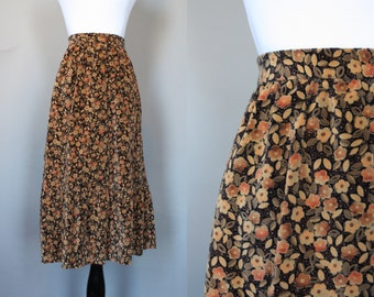 Vintage Velvet Skirt 1960s 1970s High Waist A Line Skirt with Ruffle in Black and Shades of Brown and Tan XS